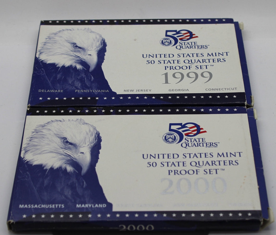 50 State Quarters, U.S. Mint - 1999 & 2000 - Box and COA