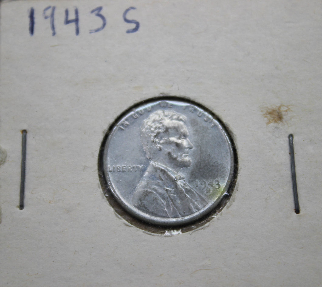 1943-S 1C Lincoln Cent - Steel Penny - Wheat Cent