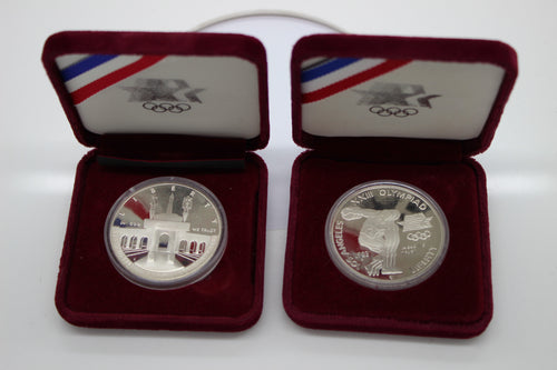 1983 1984 S Los Angeles Proof Silver One Dollar Coin Set XXIII Olympiad