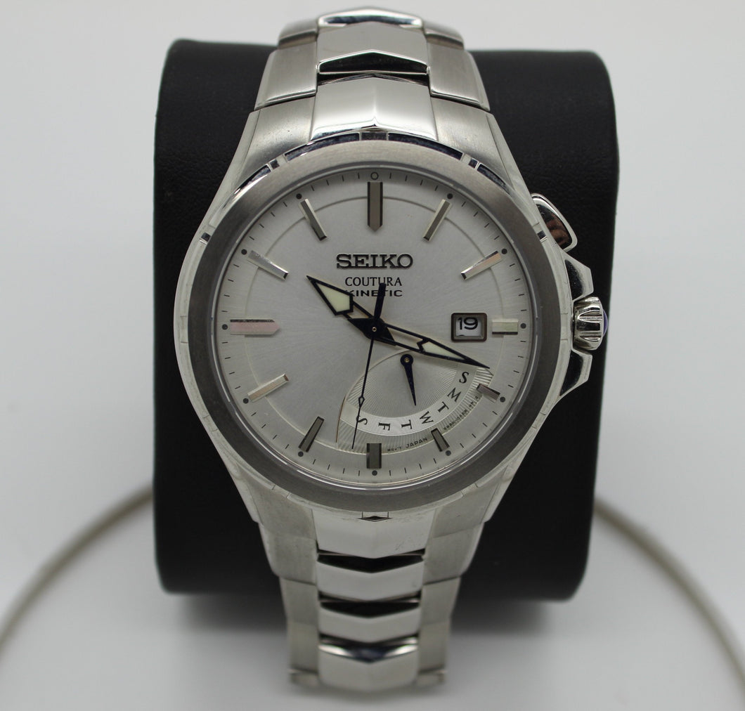 SEIKO Coutura SRN063 Kinetic Men's Bracelet Quartz Wristwatch - 5M84-0AF0
