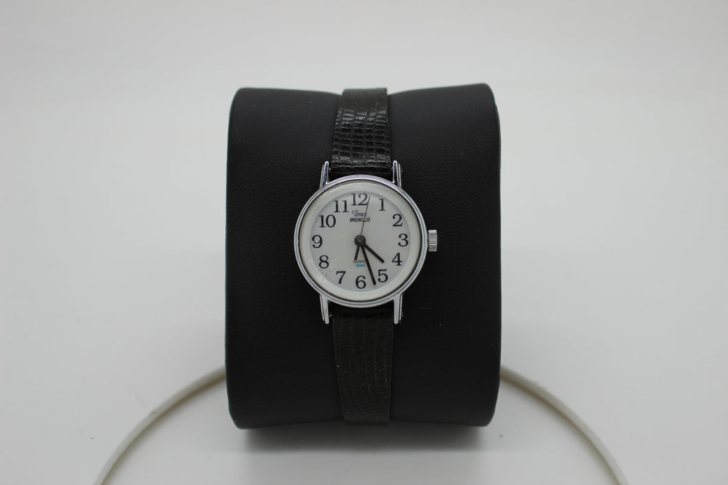 TIMEX INDIGLO Quartz CR 1216 Cell Ladies Wrist Watch - Black Leather Strap