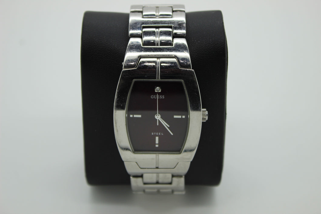 GUESS Stainless Steel Men's Watch - G95261G - Plumb Black Dial