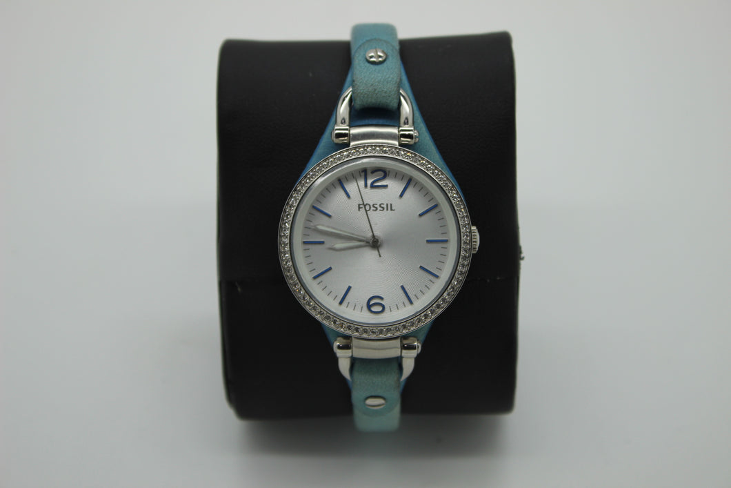 Fossil Women's Georgia Blue Leather Strap Watch - ES3470 - Silver Dial