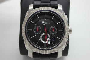 Fossil Machine Chronograph Black Silicone Mens Wrist Watch - FS4572