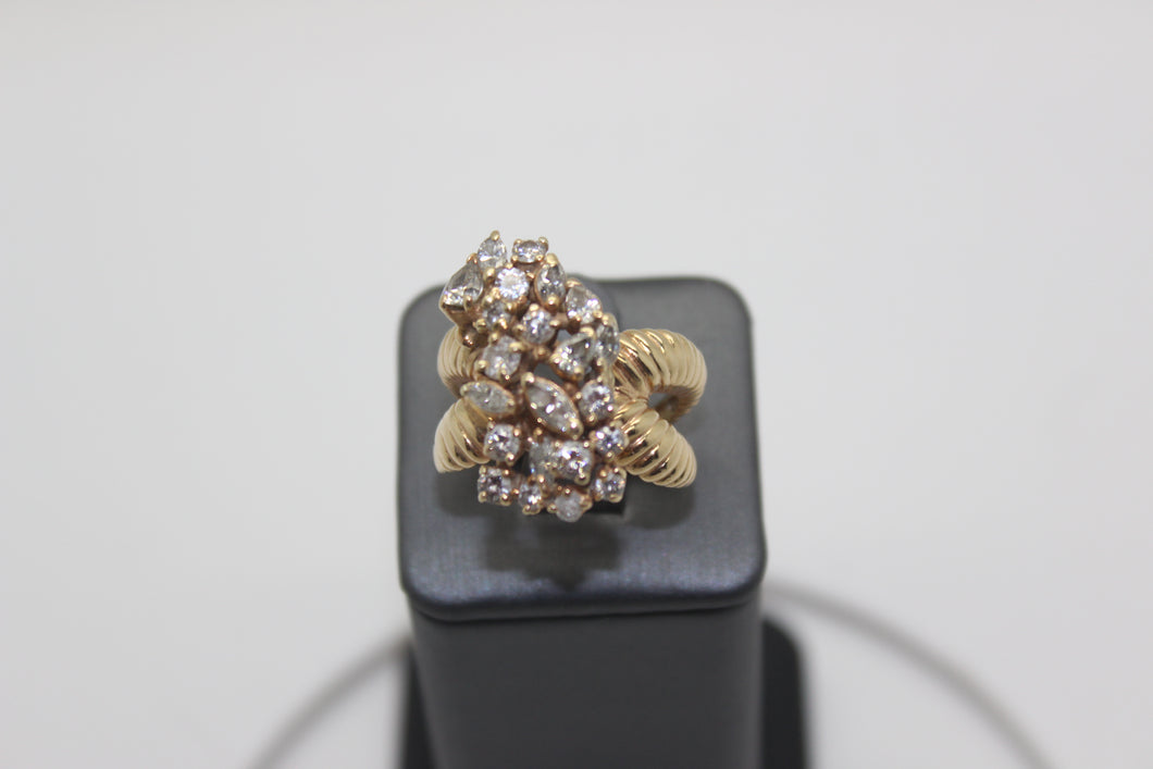 Estate 14K Fancy Cluster Diamond Ring  Approximate 3.00ct