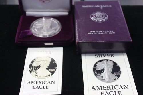 1986 - S 1 Oz Silver American Eagle Proof with Velvet Case, Box, and COA
