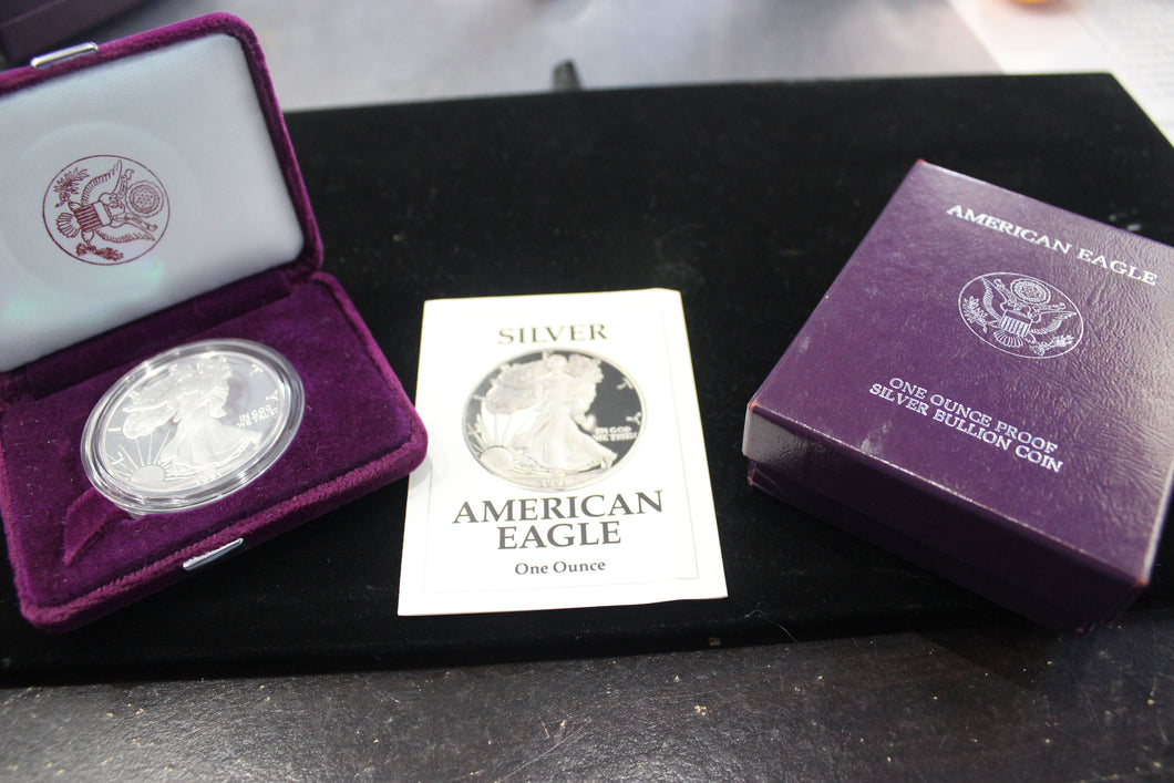 1991-S PROOF AMERICAN EAGLE WITH VELVET CASE AND COA