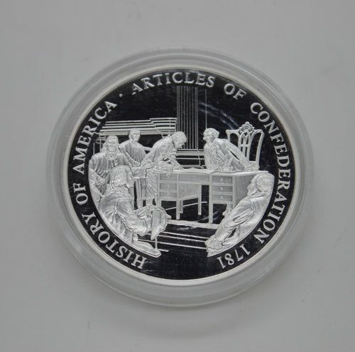 .999 .70 OZ SILVER COIN - 1781 HISTORY OF AMERICA - ARTICLES OF CONFEDERATION