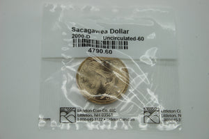 2000-D SAC$1 Sacagawea Dollar - Uncirculated-60 - Packaged/Sealed