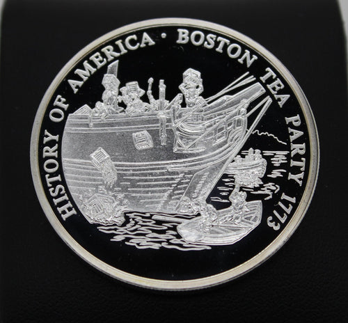 History of America - Boston Tea Party 1773 - .999 Silver Coin