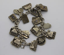 "Load image into Gallery viewer, Telephone Charm Bracelet - Sterling Silver - 7"" - 75.5 grams"