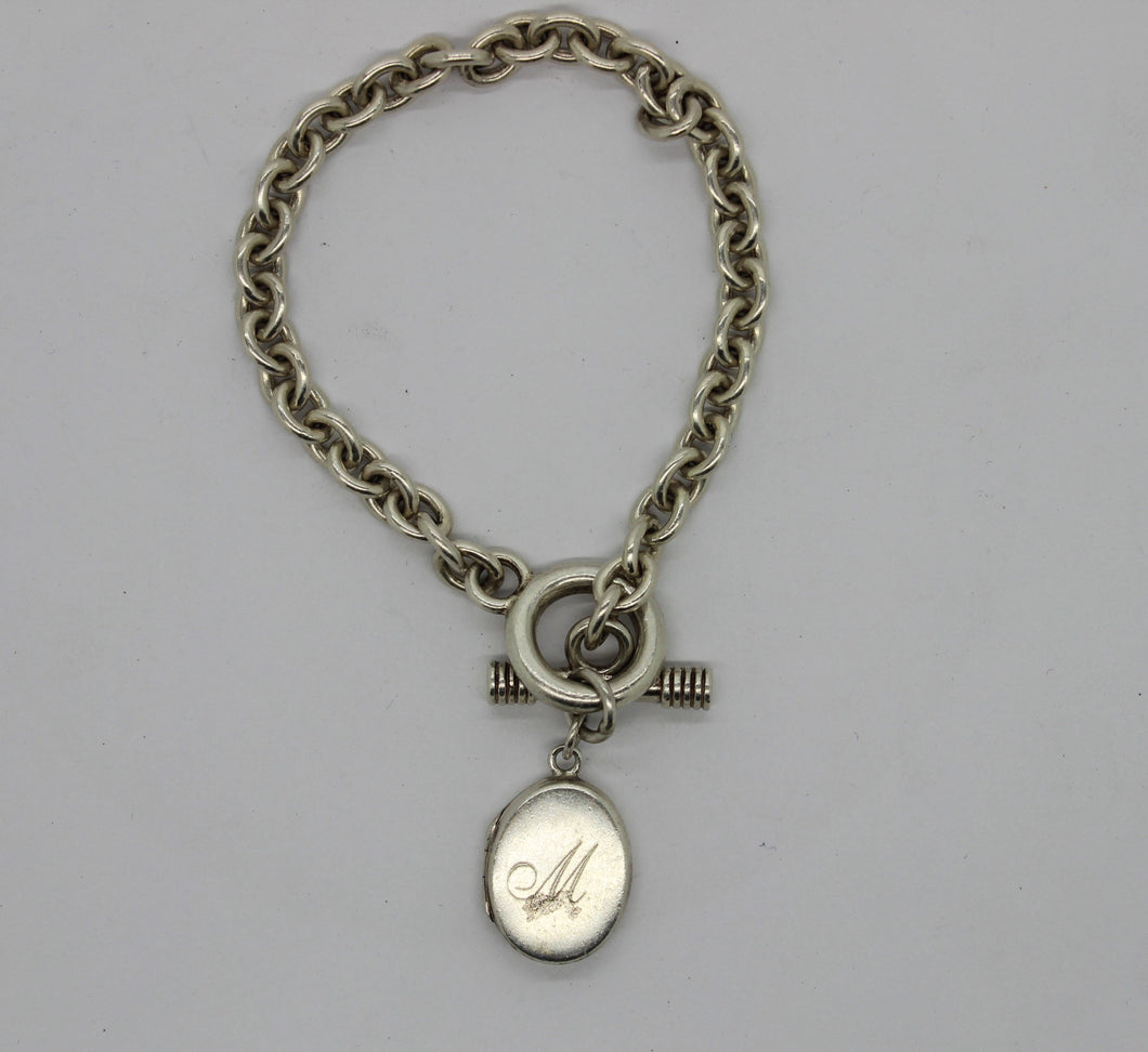 Sterling Silver 925 Bracelet w/ Locket Charm - 7