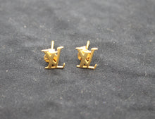 Load image into Gallery viewer, Louis Vuitton Logo 18K Gold Earrings