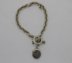 "Sterling Silver 925 Bracelet w/ Locket Charm - 7"", 19.6 grams"
