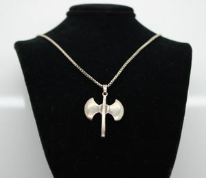 "Sterling Silver 925 Box Link Necklace with Axe Charm - 20"", 14 grams."