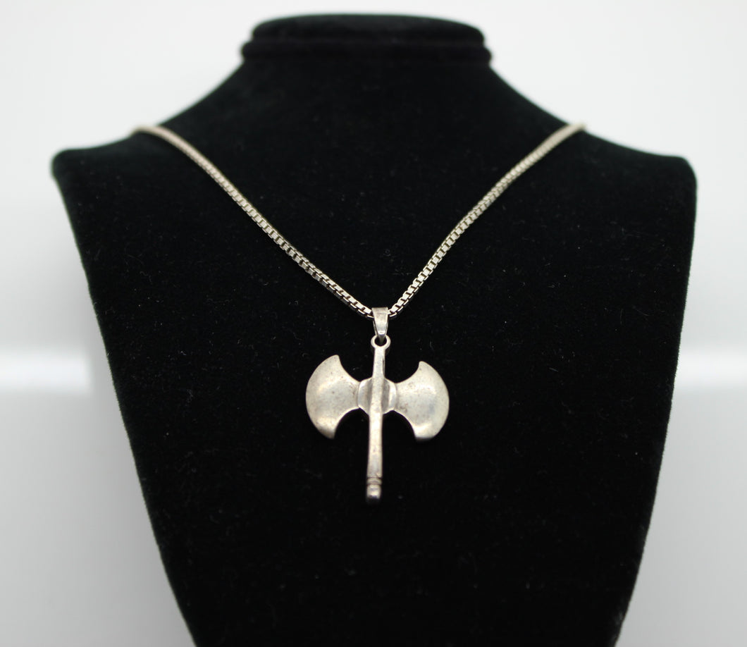 Sterling Silver 925 Box Link Necklace with Axe Charm - 20