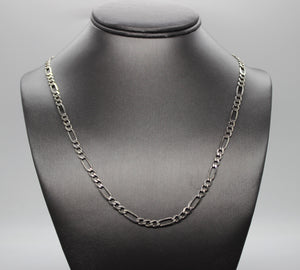 "Figaro Chain Necklace, Sterling Silver 925 - 22"", 14.4 grams"