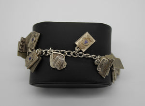"Telephone Charm Bracelet - Sterling Silver - 7"" - 75.5 grams"
