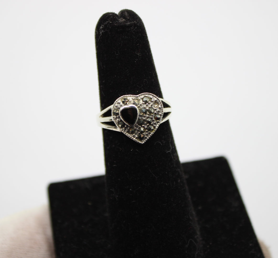 Onyx and Marcasite Heart-Shaped Ring, Sterling Silver 925 - Size 5.5, 2.8 grams