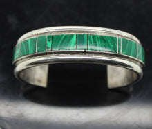 Load image into Gallery viewer, Sterling Silver 925 Open Cuff Bracelet w/ Malachite - 47.6 grams, 5.5""