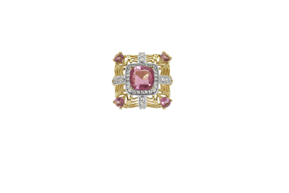 Golden Pink Sapphire Party Ring