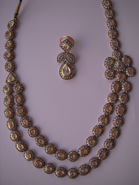 Antique Two Line Rose Cut Necklace Set