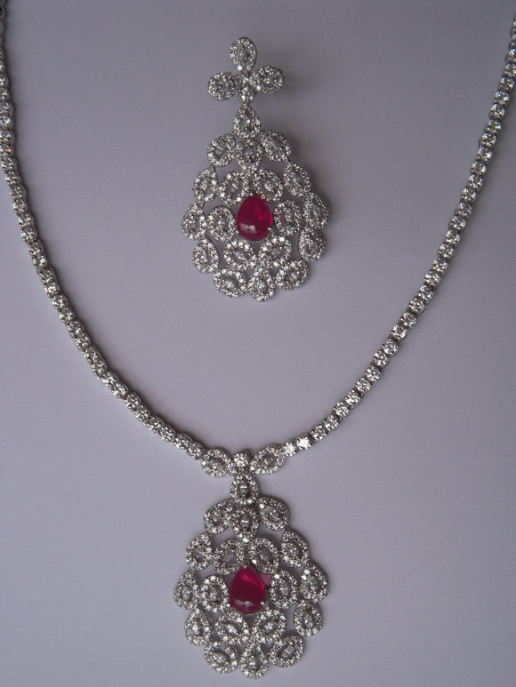 Ruby Drop Necklace Set