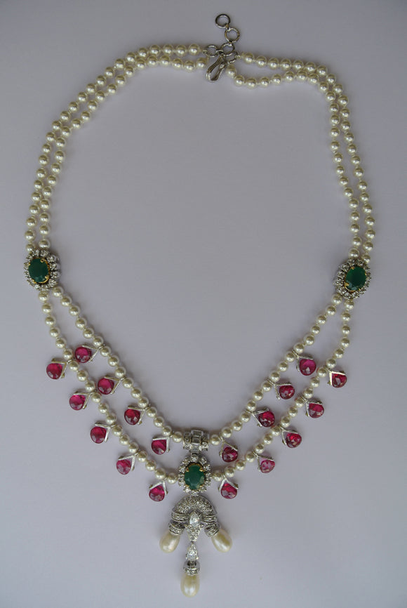 Pearl and Ruby Necklace Set