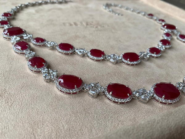 Labgrown Ruby Necklace Set