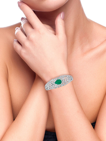 Green Onyx Pear And Diamond Baguette Bracelet