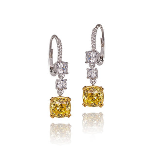 Premium Radiant Yellow Cushion Diamond  Earrings / Danglers