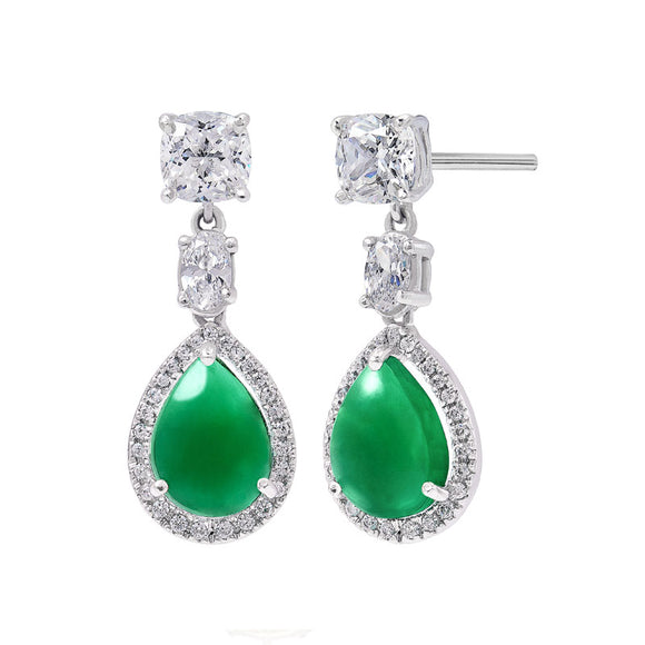 Beautiful Emerald Cabochon Earrings / Danglers