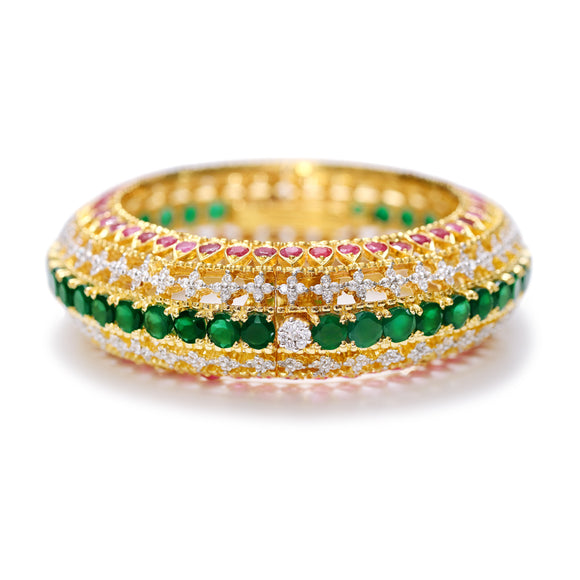 PRE-ORDER / Kada with Rubies & Green Onyx / Bangle