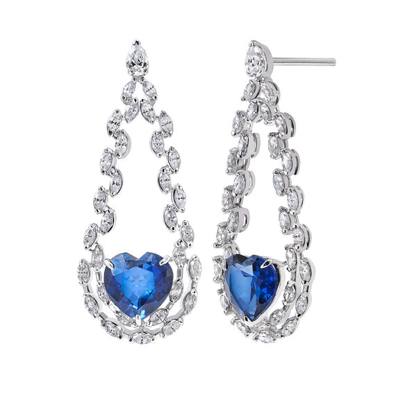 Hand Crafted Blue Sapphire and Marquise Diamond Earrings / Danglers