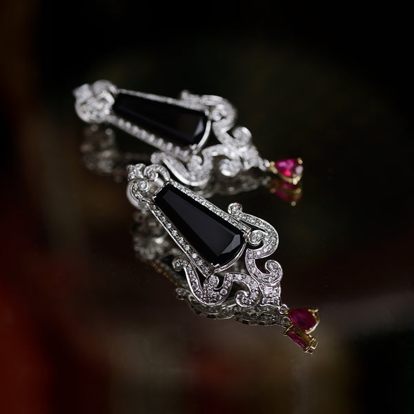 Black Onyx and Synthetic Ruby Earrings / Danglers