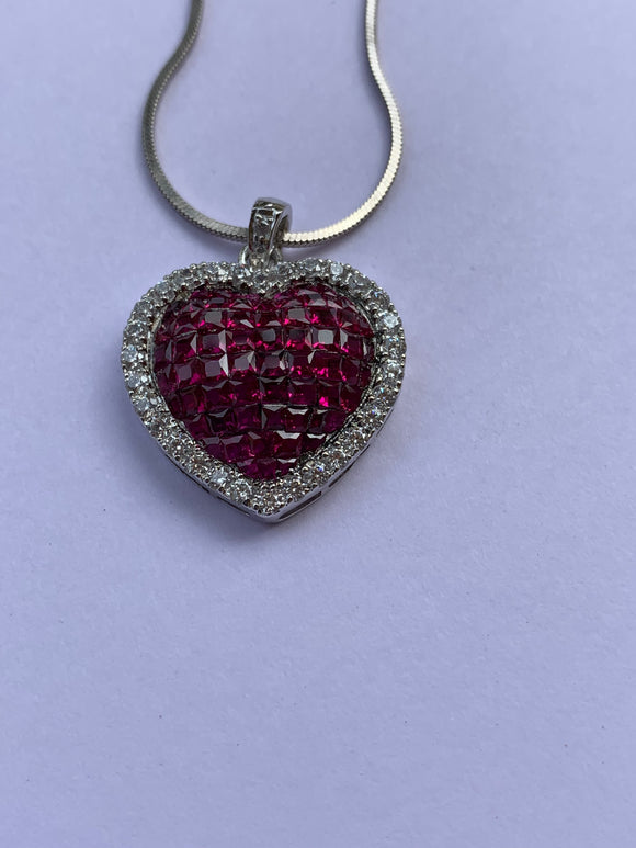 Invisible Setting Ruby Heart Pendant