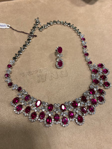 Diamond and Ruby Bridal Necklace Set