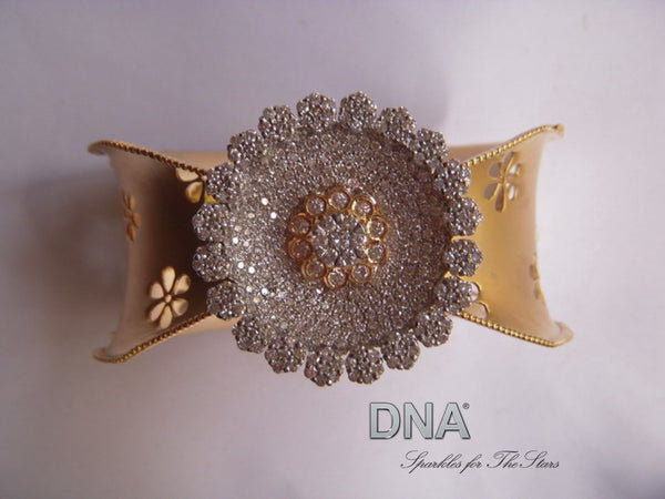 Gold And Diamond Flower Bracelet