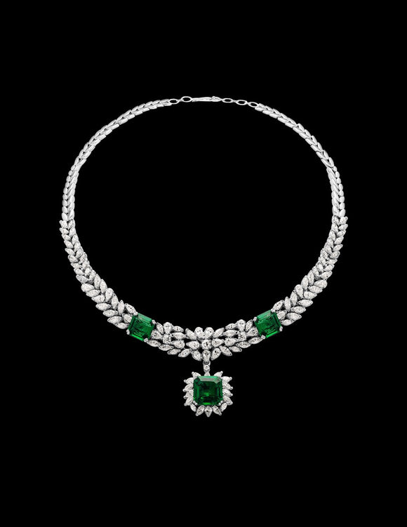 Changeable Green Emerald Necklace Set