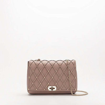 Valentino Garavani Medium Beehive Chain Bag Poudre/Platinum