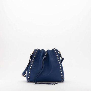 Valentino Garavani Small Rockstud Bucket Bag Blue Delft
