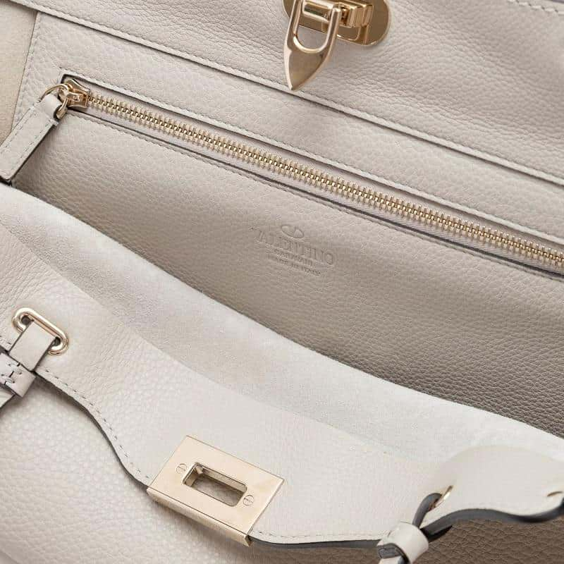 Valentino Medium Rockstud Grainy Calfskin Bag Opal Grey