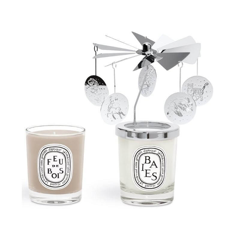 Diptyque Carousel Set with Two Candles Baies and Feu De Bois