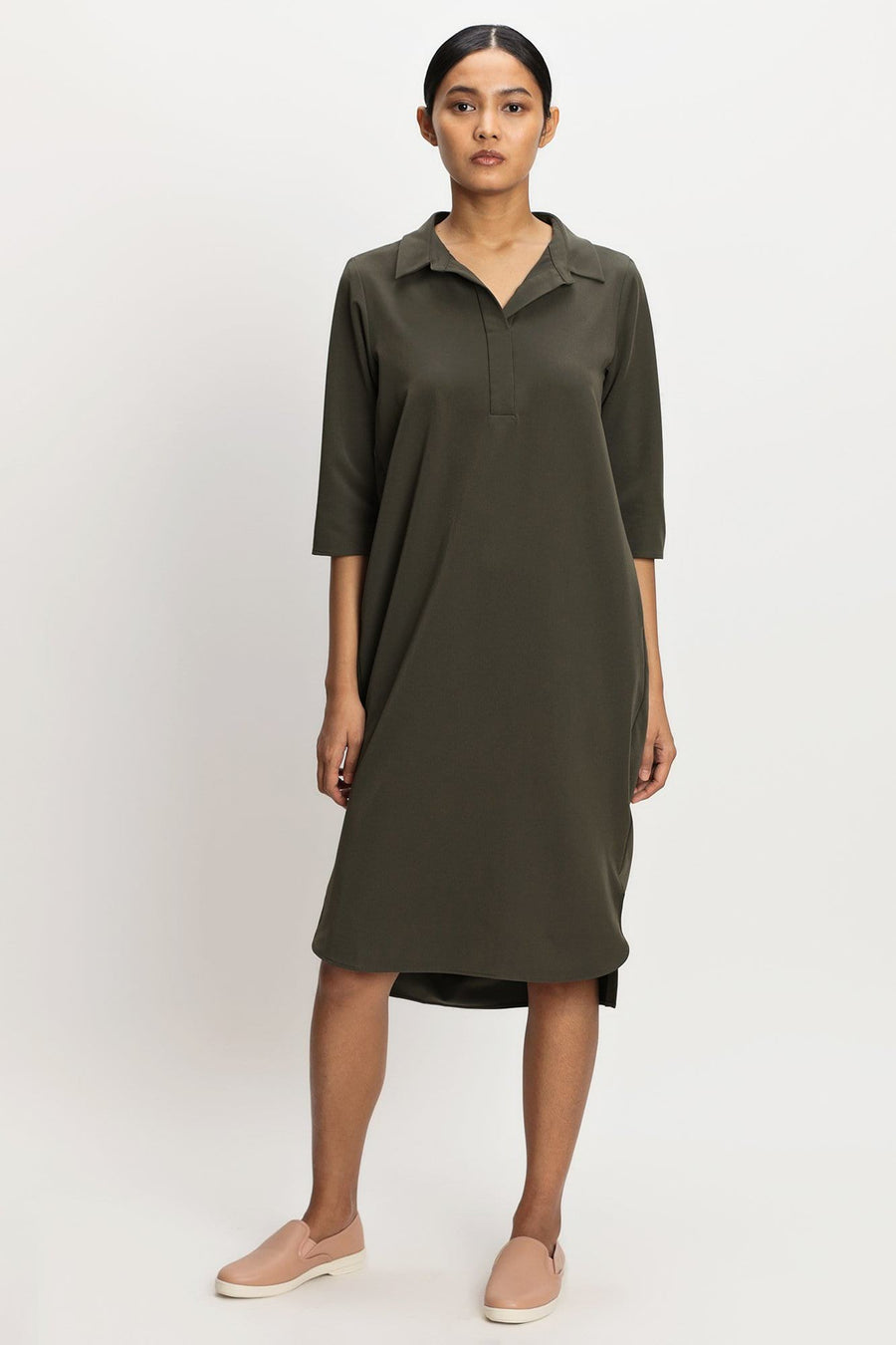 harlan + holden 8bc shirtdress dark green