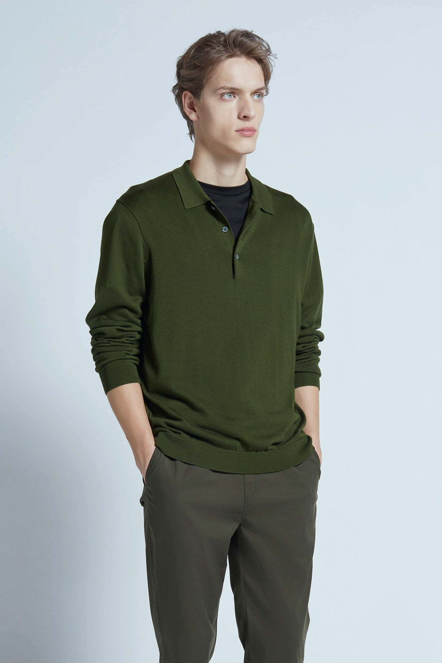 harlan + holden polo breathe long sleeve dark green