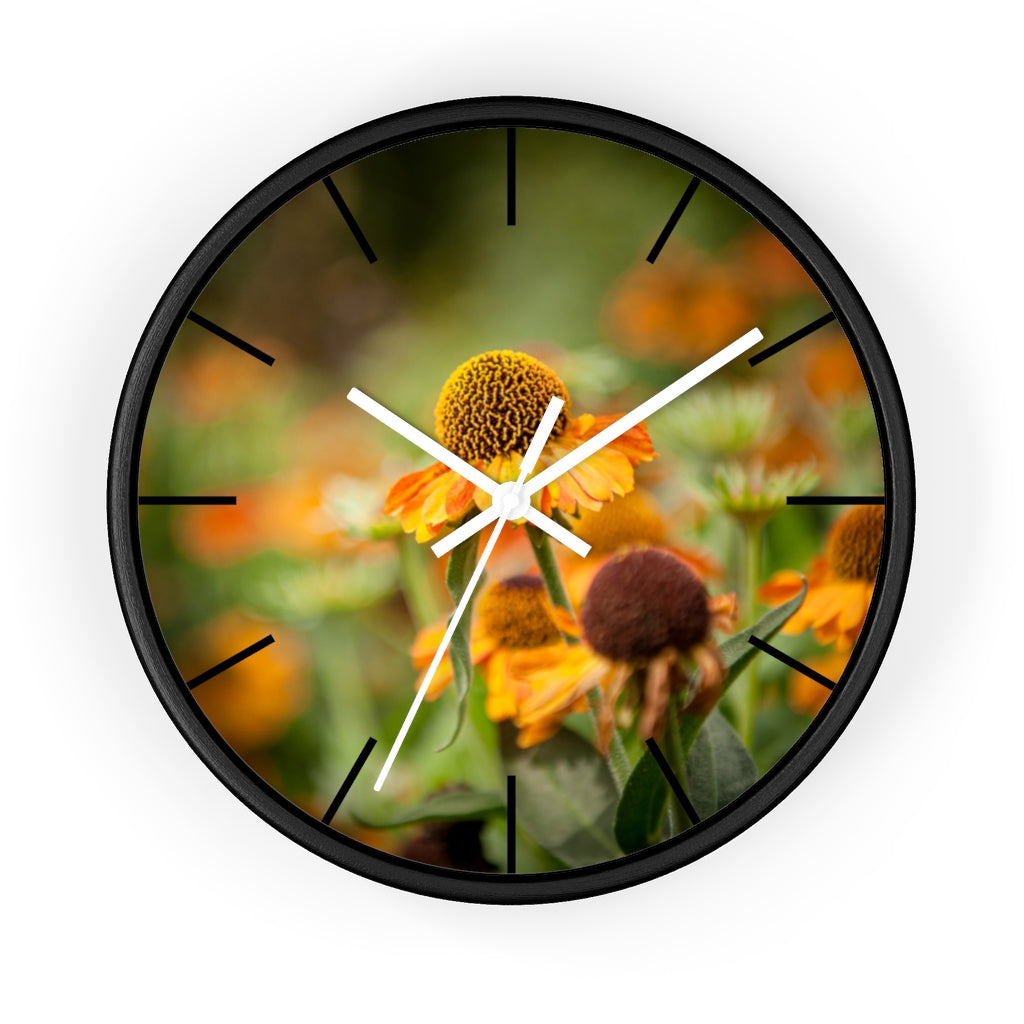 Wall clock: Golden Flowers (with lines)