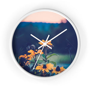 Wall clock: Flowers at Sunset