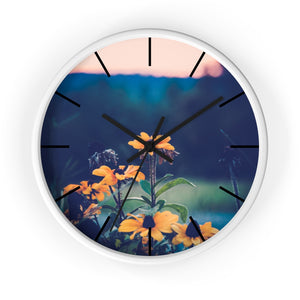 Wall clock: Flowers at Sunset (with lines)