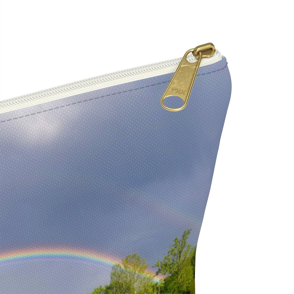Accessory Pouch w T-bottom: Double Rainbow Over Lake
