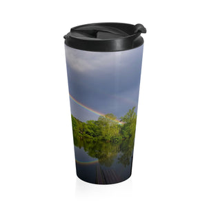 Stainless Steel Travel Mug: Double Rainbow Over Lake